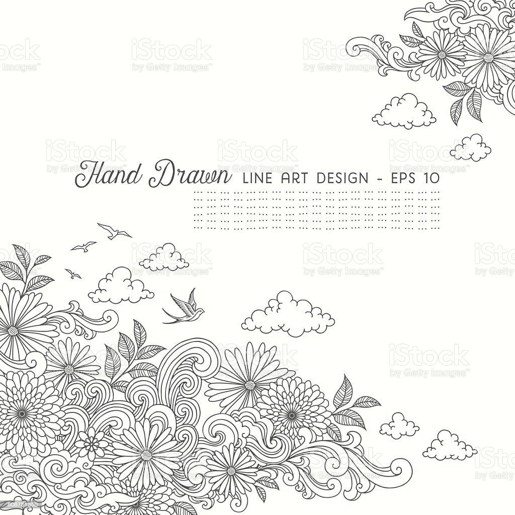 Swirly Floral Line Art Doodles vector art illustration