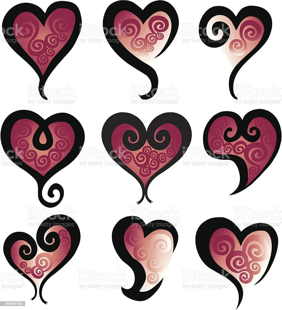 Swirly Hearts Pack royalty-free stock vector art