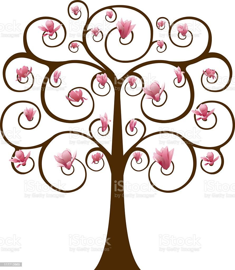 Swirly Tree with Magnolia Flowers royalty-free stock vector art