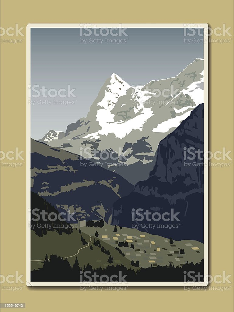 Swiss Alps Postcard royalty-free stock vector art