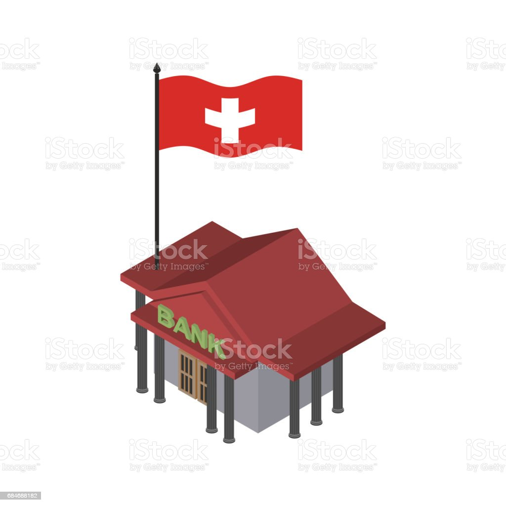 Swiss bank. Financial building and flag of Switzerland vector art illustration