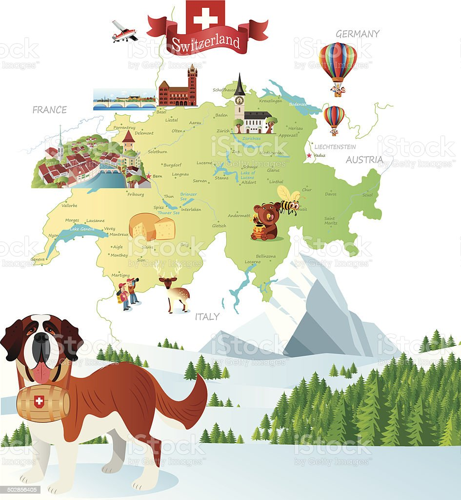 Swiss Cartoon Map-1 vector art illustration