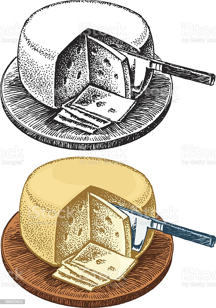 Swiss Cheese Wheel, Appetizer vector art illustration