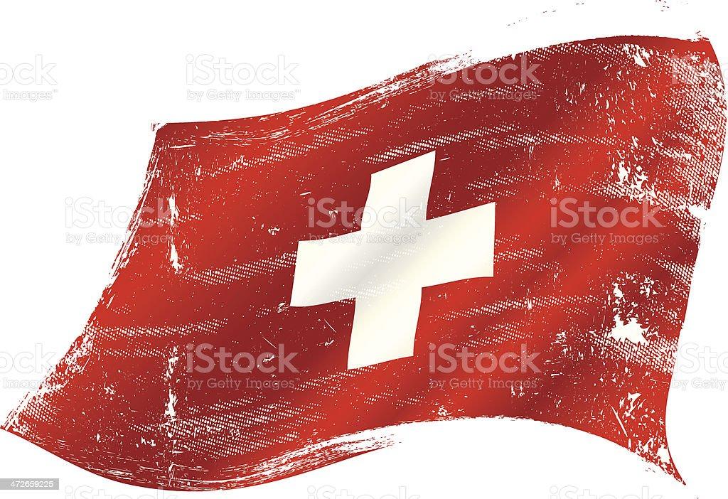 Swiss flag grunge vector art illustration