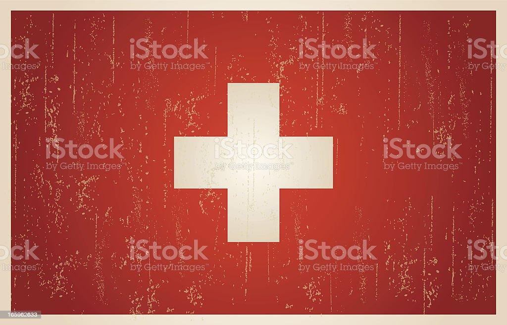 Swiss flag in grunge and vintage style. royalty-free stock vector art