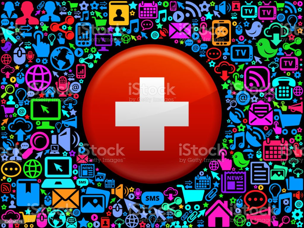 Swiss flag on tech pop art background. vector art illustration