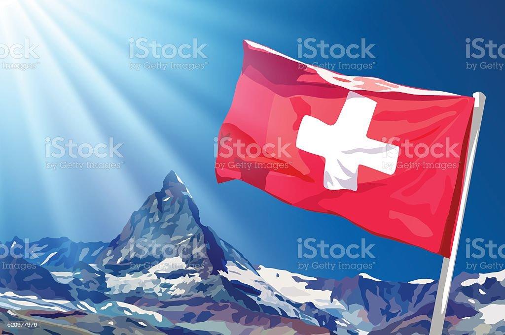 Swiss flag vector art illustration