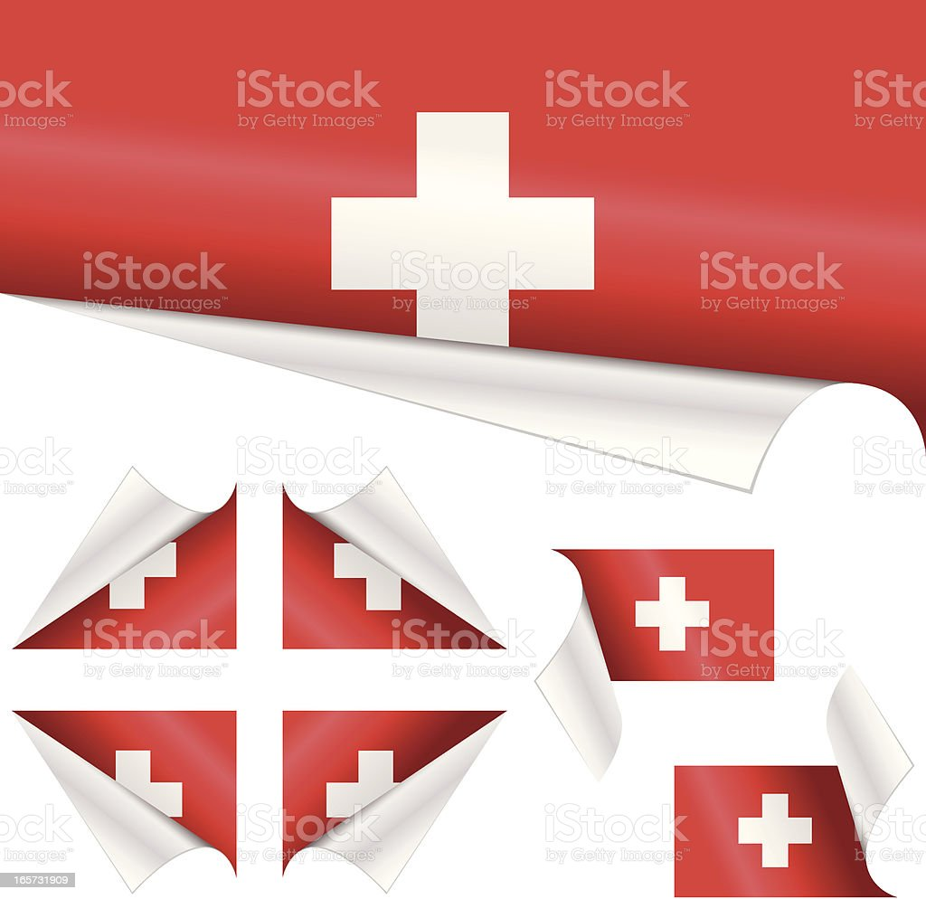 Swiss Flags behind Curled Paper royalty-free stock vector art
