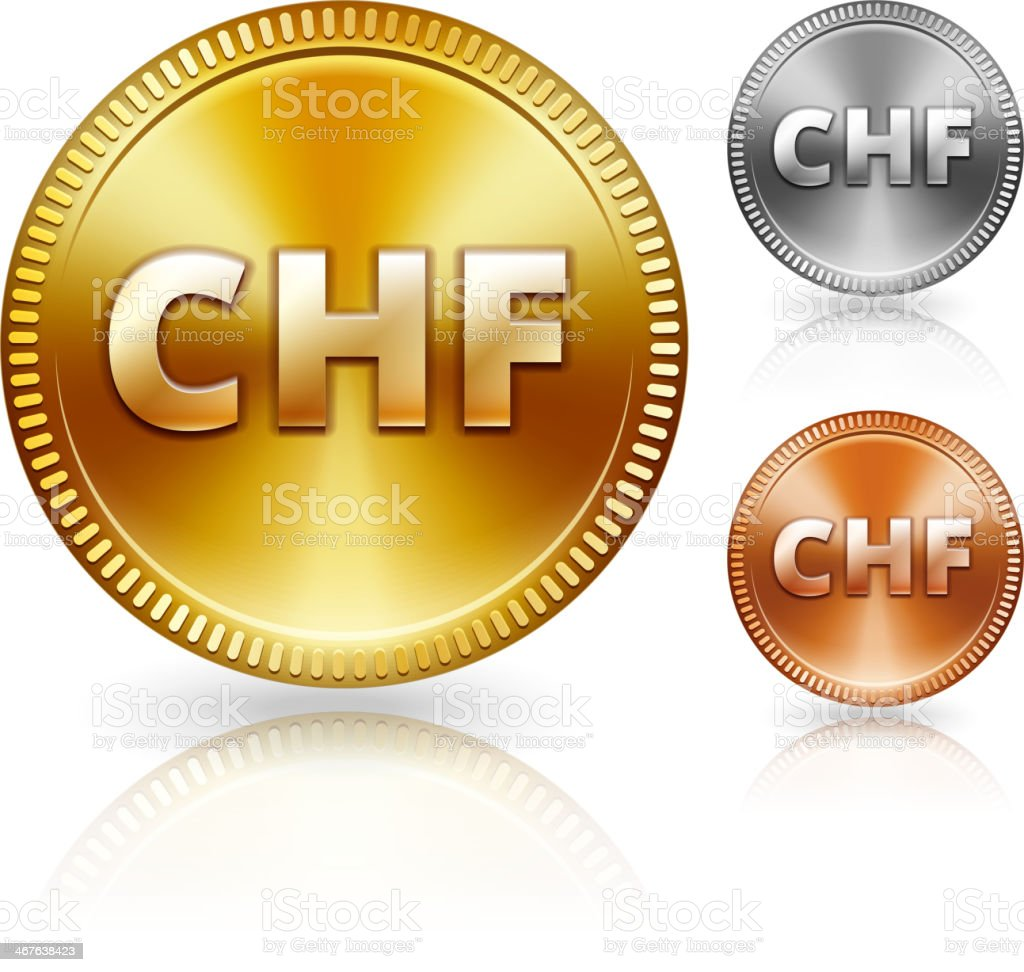 Swiss Franc Metallic Currency Color Set vector art illustration