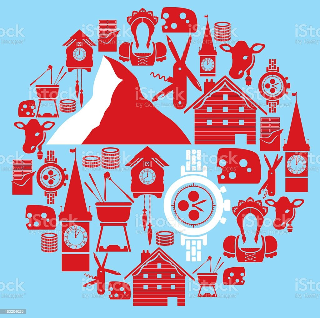 Swiss Icon Montage vector art illustration