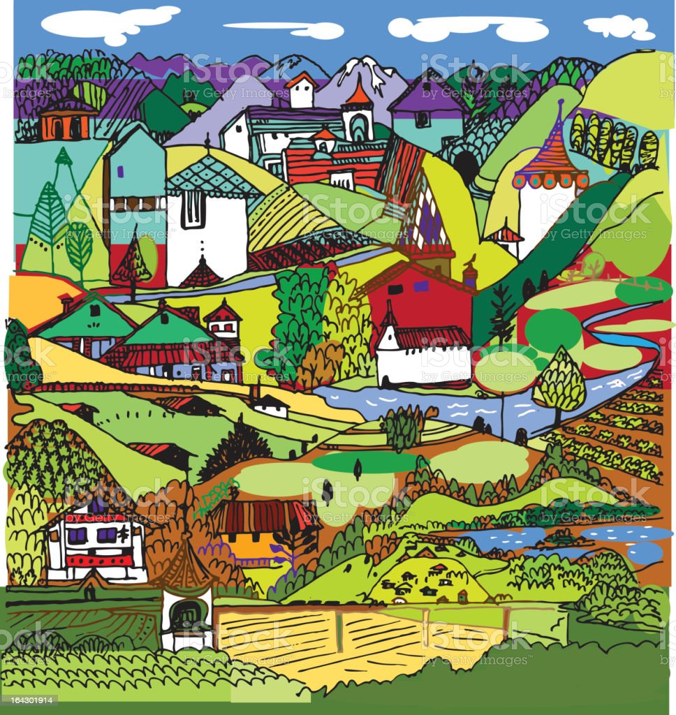 swiss landscape vector art illustration