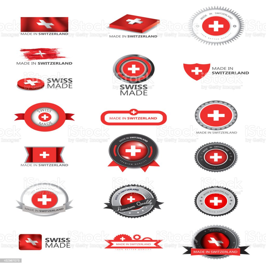 Swiss made, Switzerland flag, seals vector art illustration