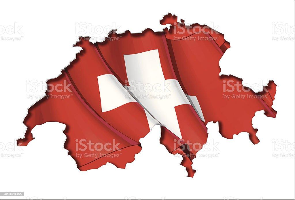 Swiss Map-Flag royalty-free stock vector art