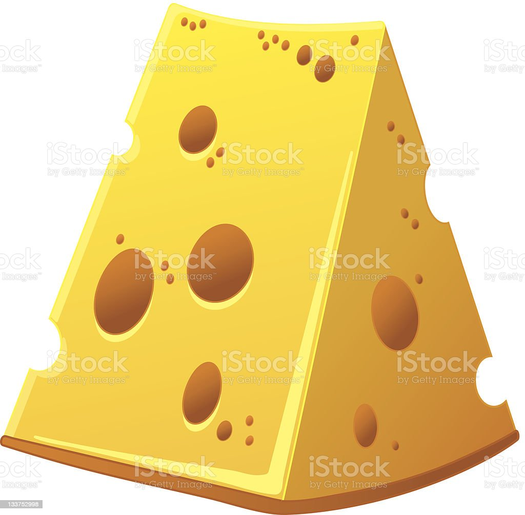 Swiss yellow cheese with holes royalty-free stock vector art