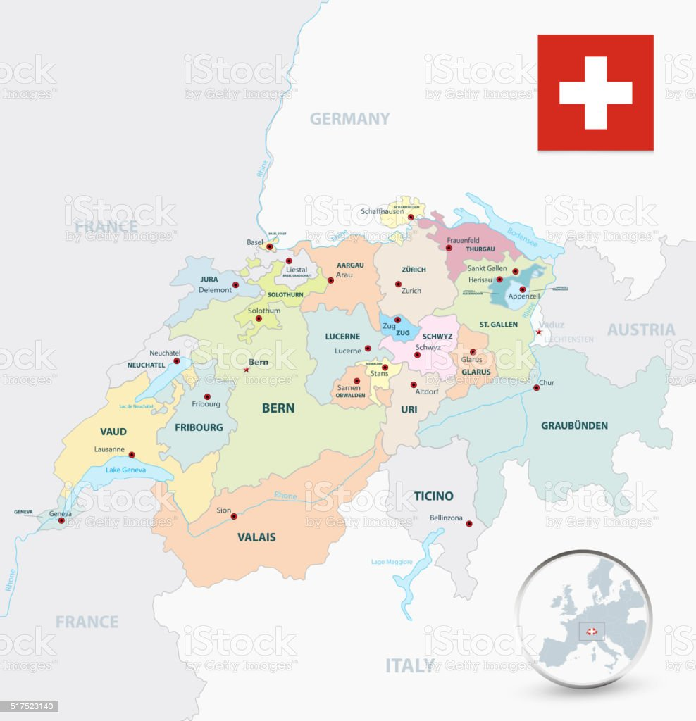 Switzerland administrative divisions map vector art illustration