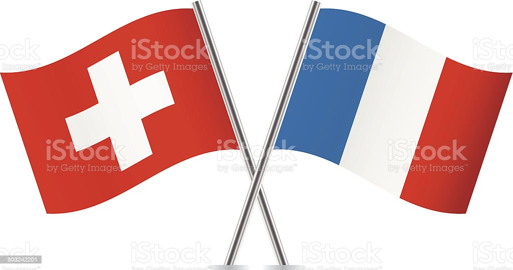Switzerland and French flags. vector art illustration