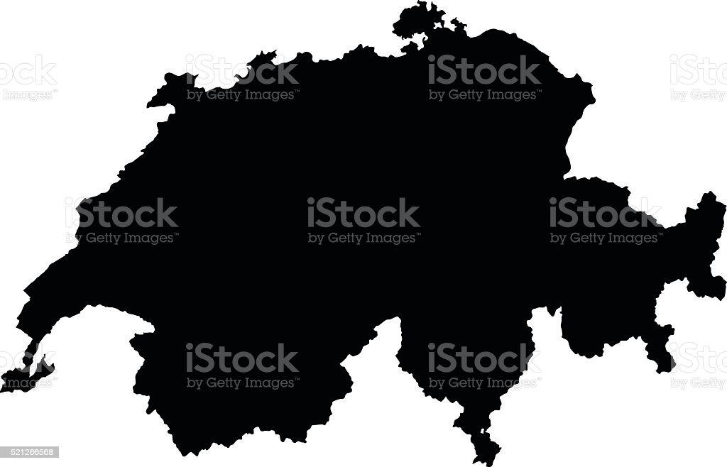 Switzerland black map on white background vector vector art illustration