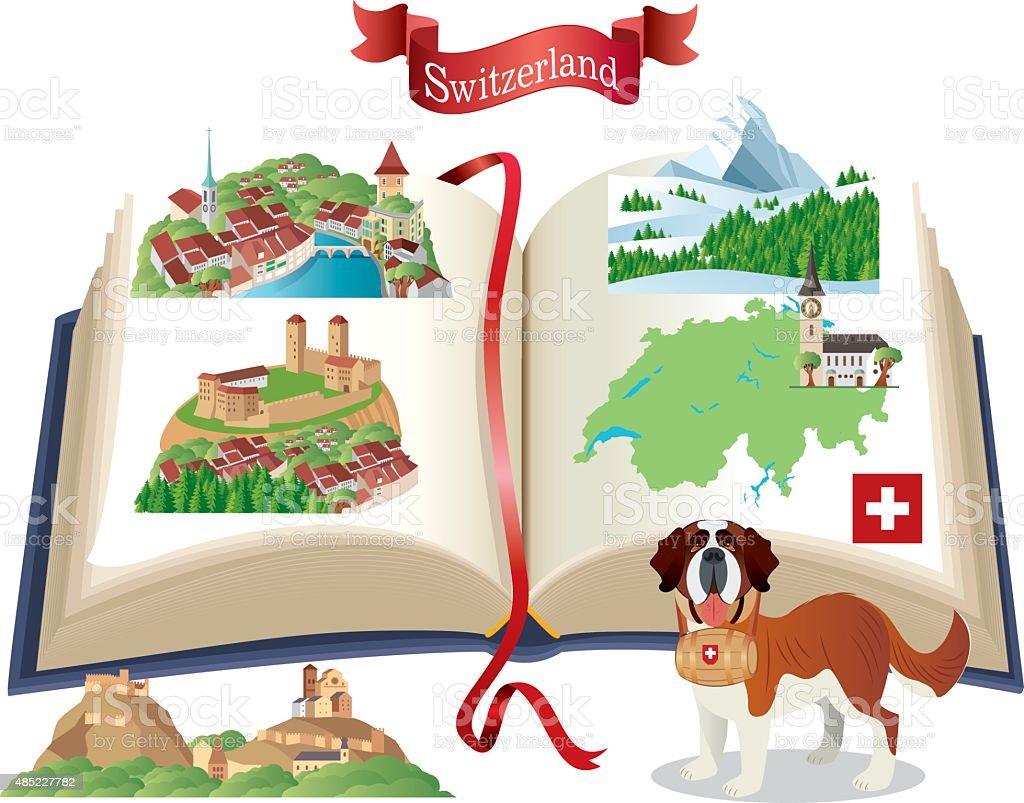 Switzerland Book vector art illustration