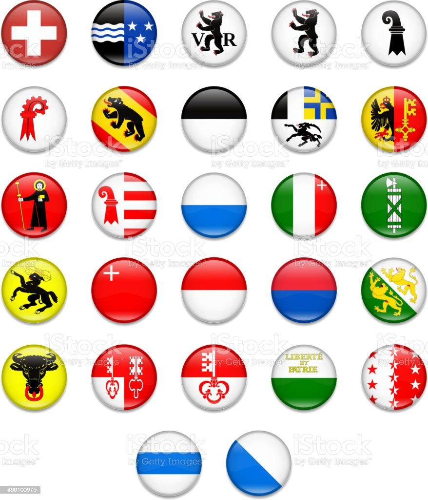 Switzerland Cantonal Complete Button Flag Collection vector art illustration