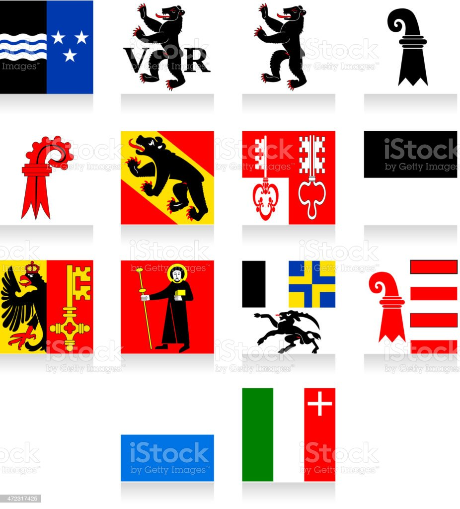 Switzerland Cantonal Flag Collection-Part 1 royalty-free stock vector art