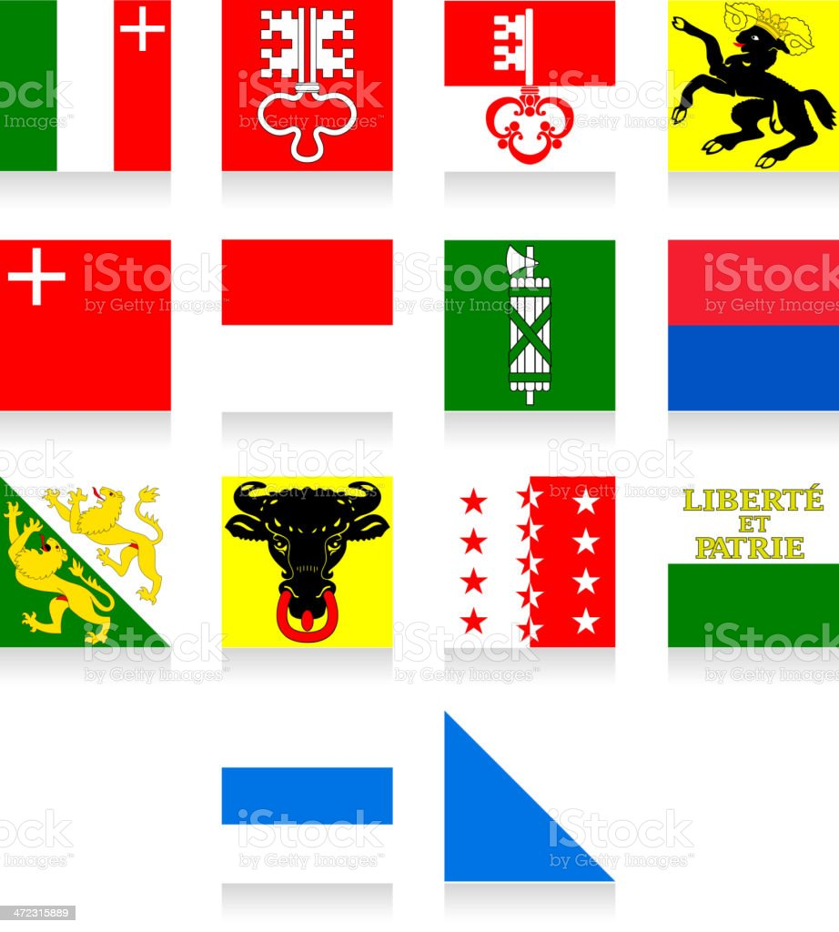Switzerland Cantonal Flag Collection-Part 2 royalty-free stock vector art