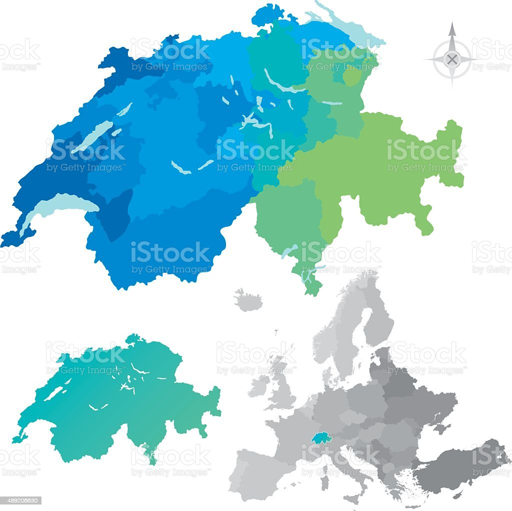 Switzerland Cantons Europe Map vector art illustration