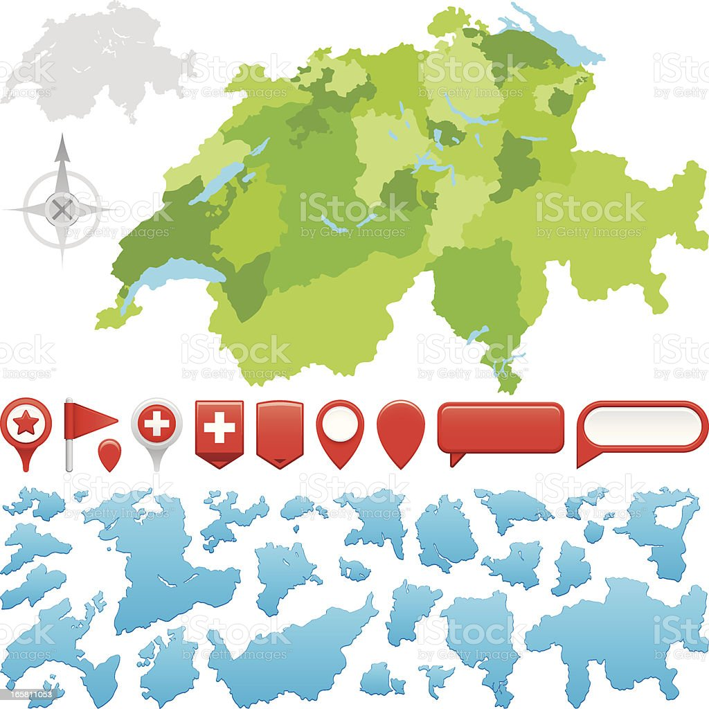 Switzerland Cantons royalty-free stock vector art