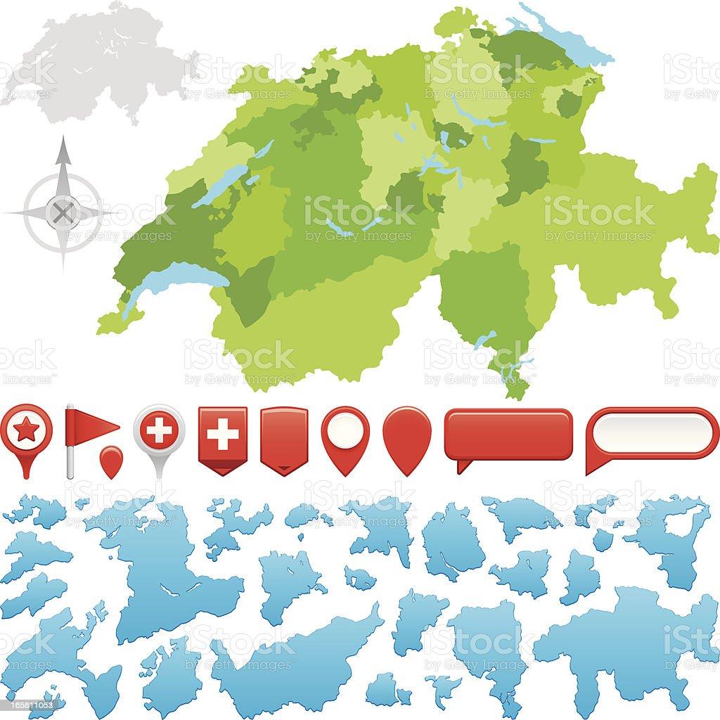 Switzerland Cantons vector art illustration
