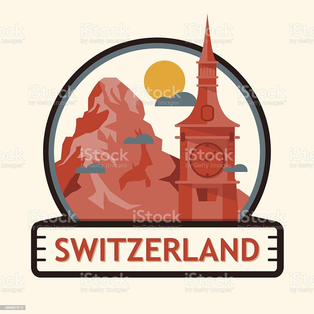 Switzerland cities badge royalty-free stock vector art