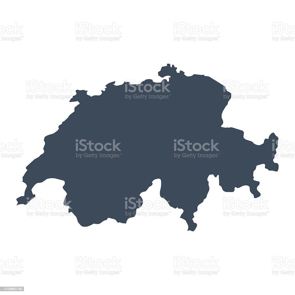 Switzerland country map vector art illustration