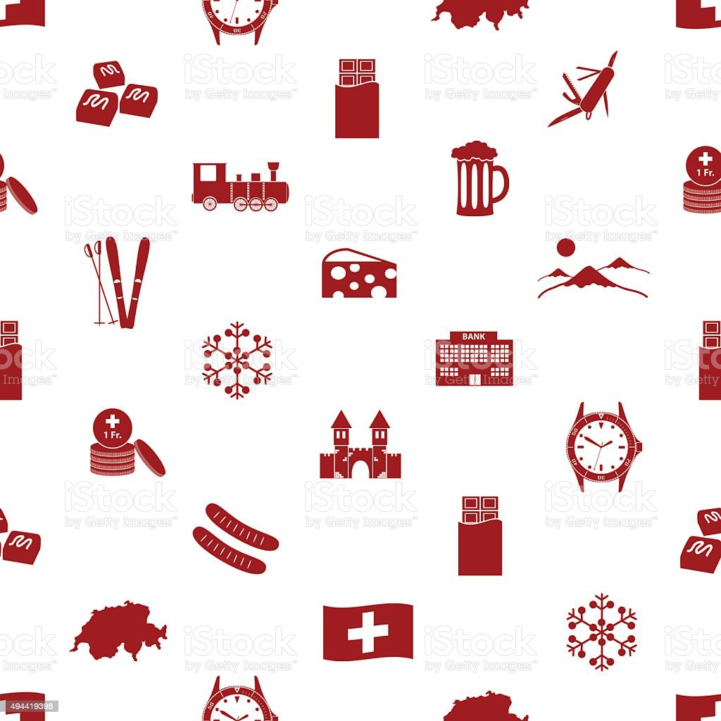 Switzerland country theme icons seamless pattern eps10 vector art illustration