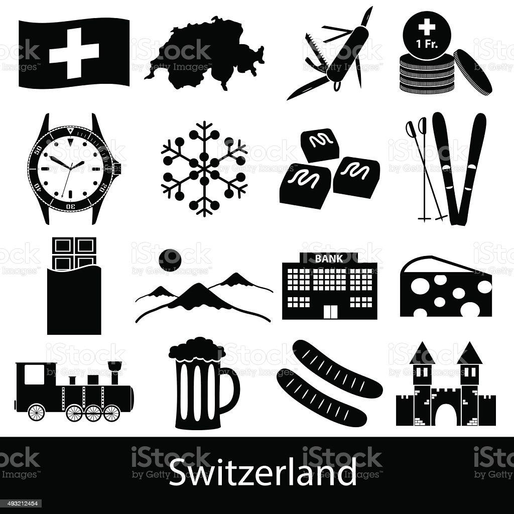 Switzerland country theme symbols icons set eps10 vector art illustration