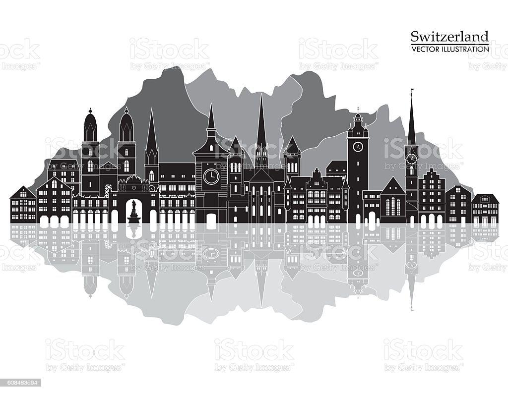 Switzerland detailed skyline. Vector illustration vector art illustration