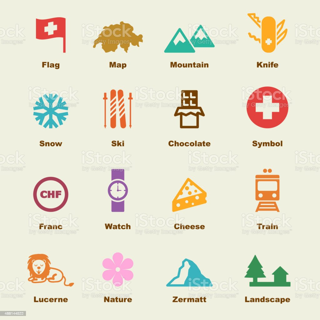 switzerland elements vector art illustration