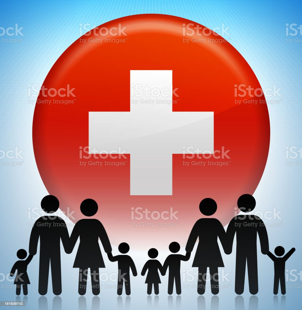 Switzerland Family Concept Stick Figures royalty-free stock vector art