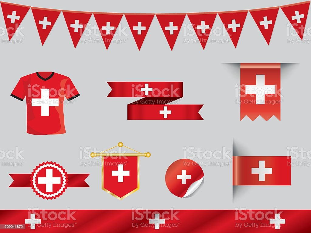 switzerland flag badges and icons vector art illustration
