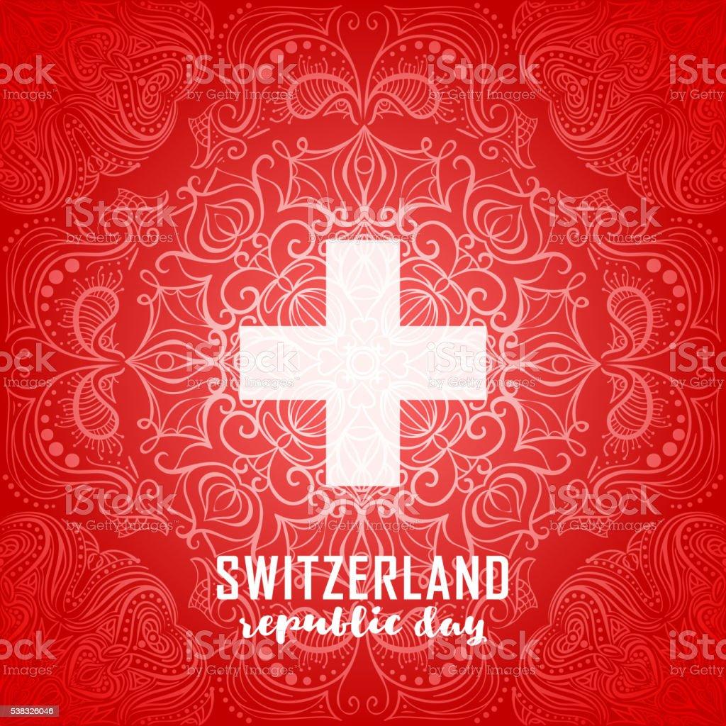 Switzerland flag. Independence Swiss national day vector art illustration