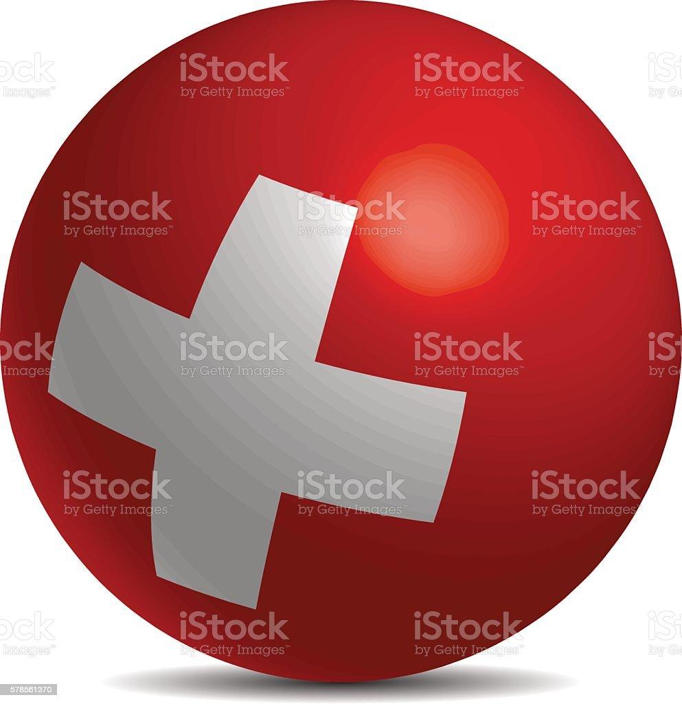 Switzerland flag on a 3d ball with shhadow vector art illustration