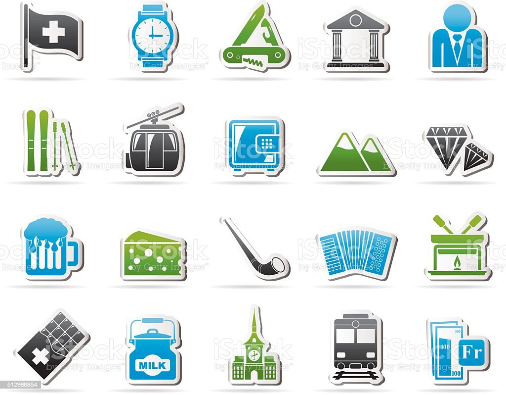 Switzerland industry and culture icons vector art illustration