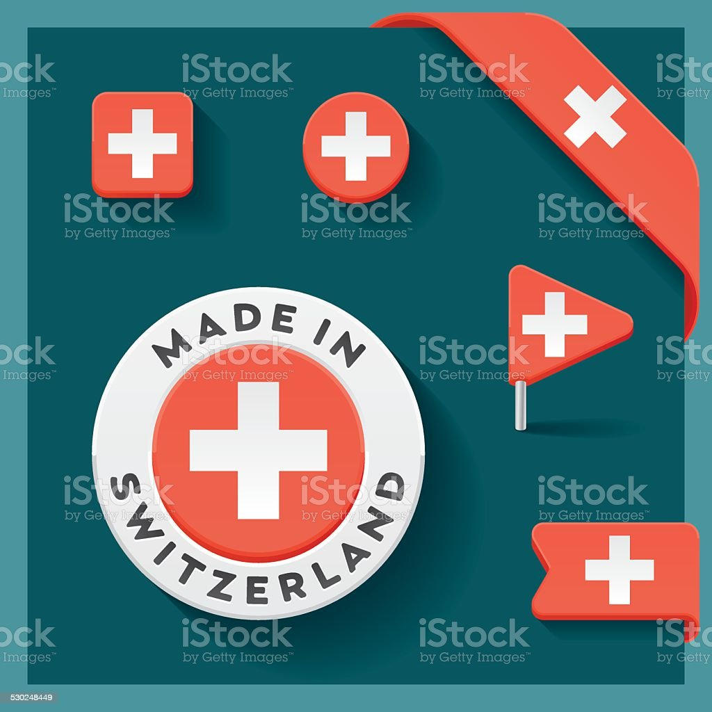 Switzerland Made Symbol Collection vector art illustration