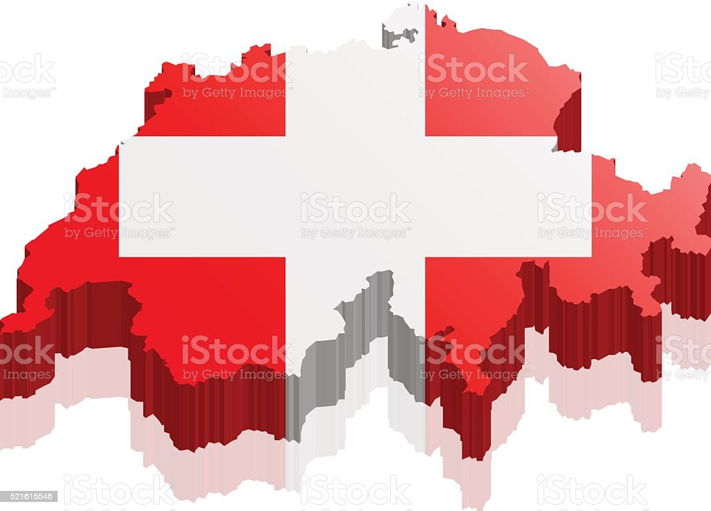 switzerland map 3d vector art illustration
