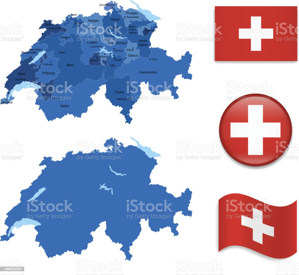 Switzerland Map and Flag Collection vector art illustration