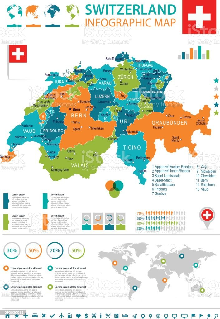 Switzerland - map and flag - infographic illustration vector art illustration