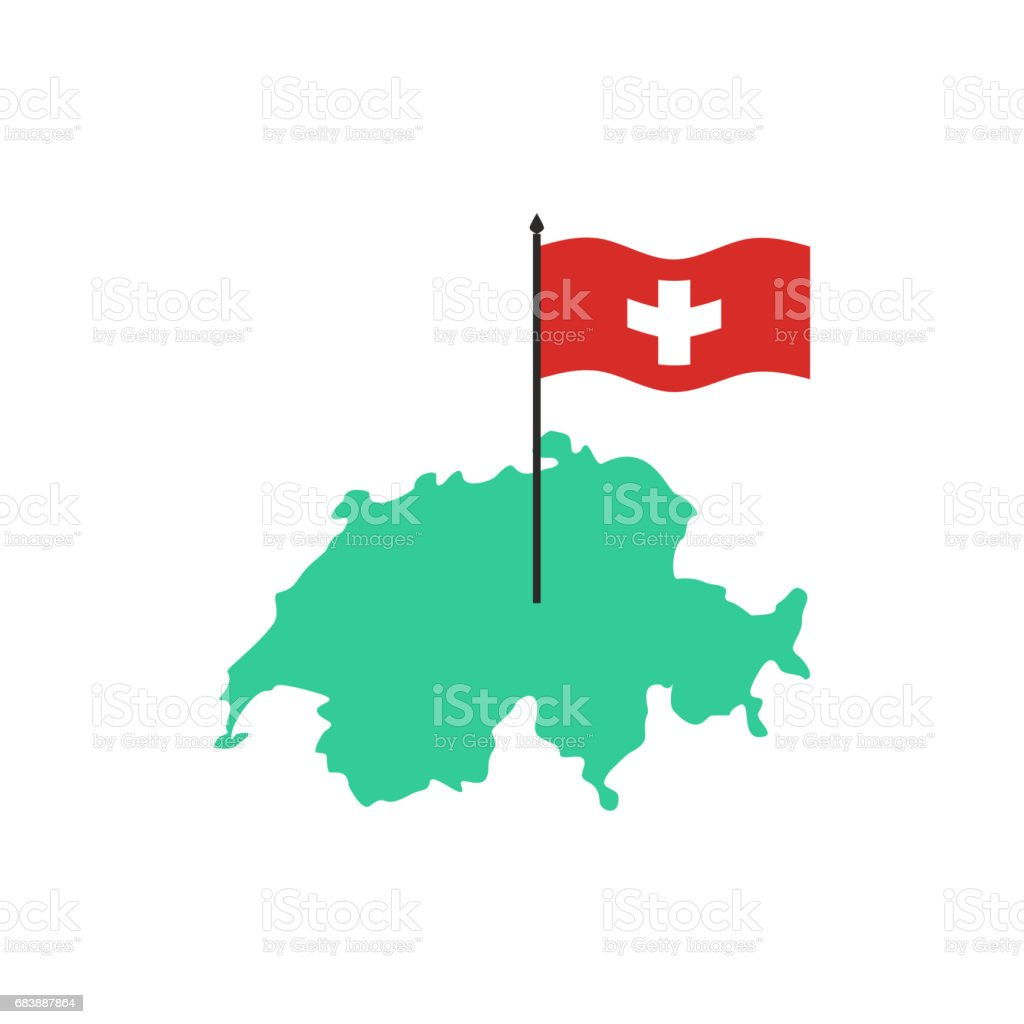 Switzerland Map and flag. Swiss State sign. Geography of country symbol vector art illustration