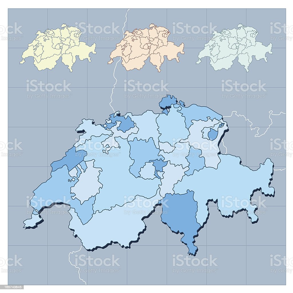 Switzerland map and surroundings vector art illustration