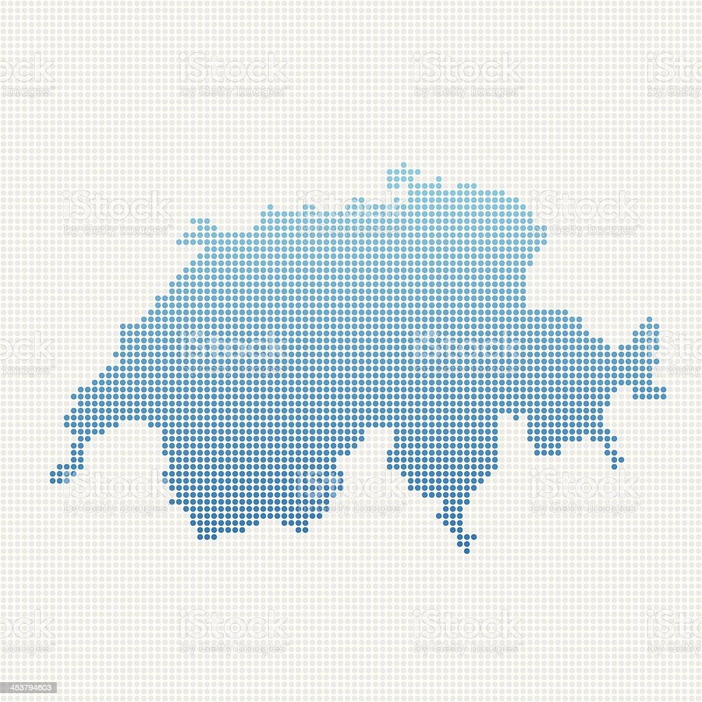 Switzerland Map Blue Dot Pattern royalty-free stock vector art