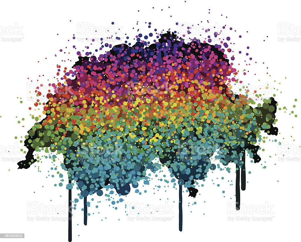Switzerland Map Colorful Paint Graffiti royalty-free stock vector art