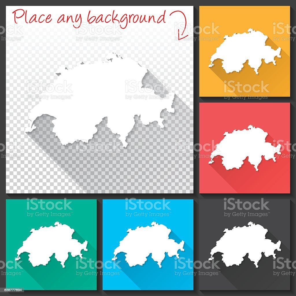 Switzerland Map for design, Long Shadow, Flat Design vector art illustration
