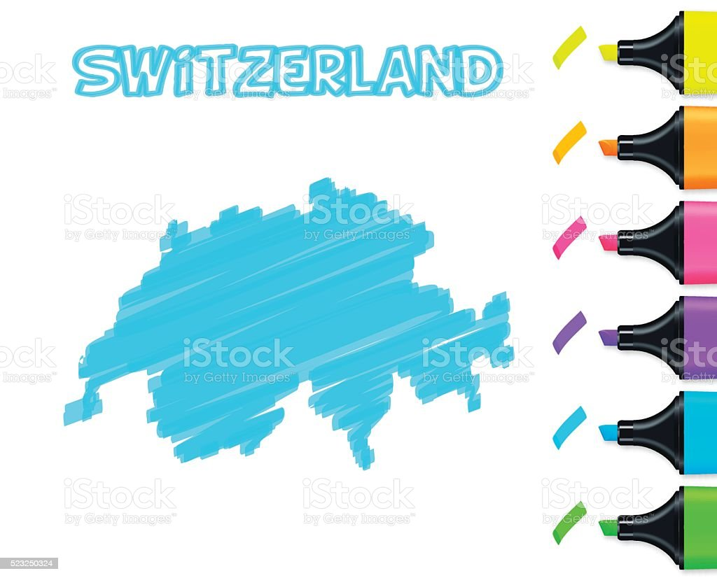 Switzerland map hand drawn on white background, blue highlighter vector art illustration
