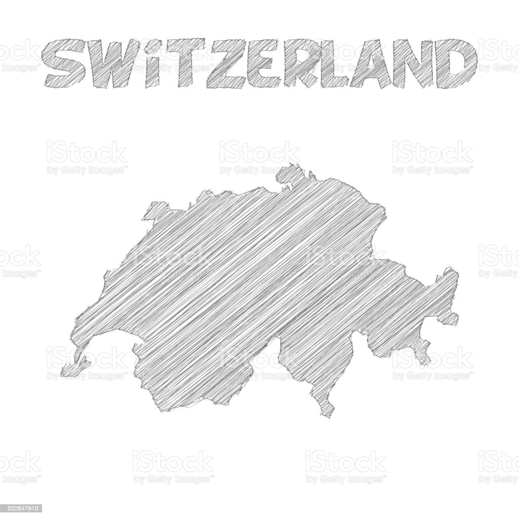 Switzerland map hand drawn on white background vector art illustration